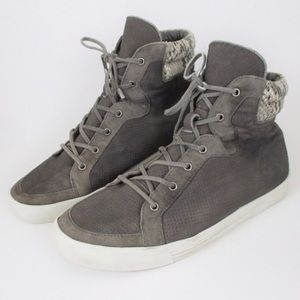 Joie 38.5 Gray Leather High Top Sneaker Shoes